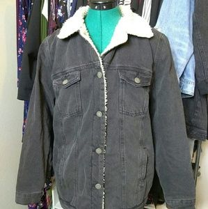 Plus Size Shearling Denim Jacket